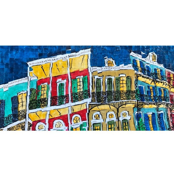 "New Orleans, Louisiana - French Quarter - Architectural Art: 10""x20"" Original Painting"