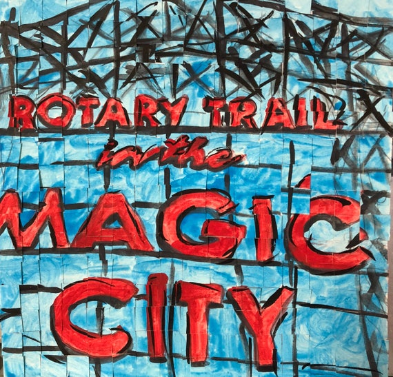 "Birmingham, Alabama - Rotary Trail -Magic City - Architectural Art: 8""x8"" Original Painting"
