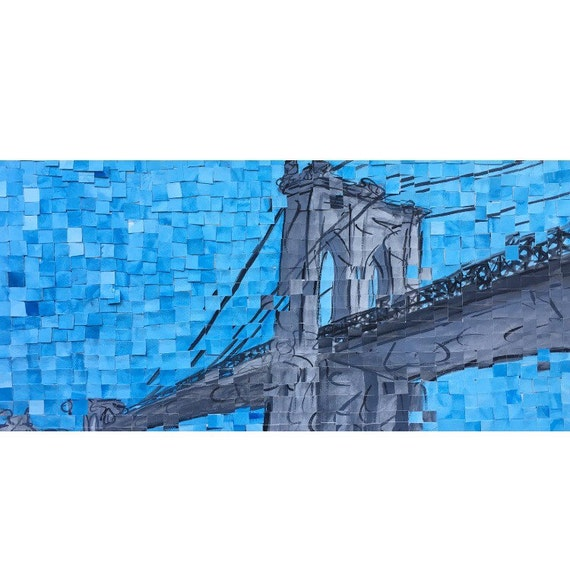 "Brooklyn- New York City- Brooklyn Bridge- Architectural Art 10""x20"" original painting"