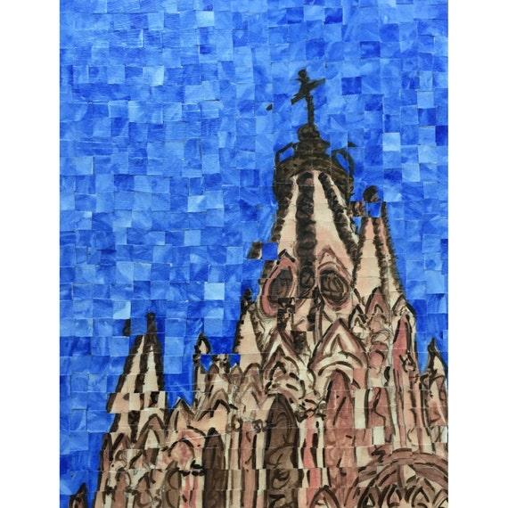 """San Miguel de Allende, Mexico - Parroquia de San Miguel Arcangel - Architectural Art: 11""""x14"""" Original Painting"""
