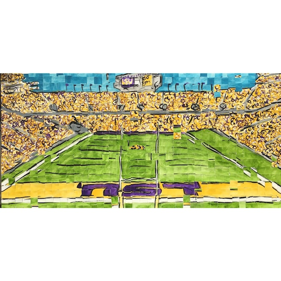 "Louisiana State University - Death Valley - Tiger Stadium - LSU - Architectural Art: 10""x20"" Original Painting"