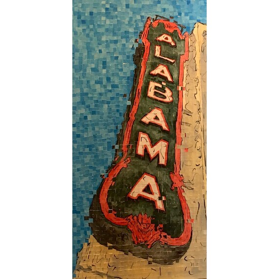 "Birmingham Alabama- Alabama Theatre- Architectural Art: 18""x36"" Original Painting"