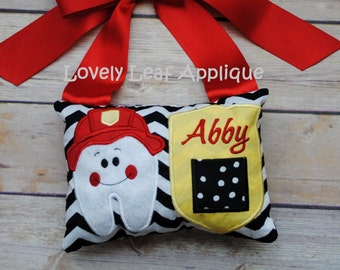 DIGITAL ITEM: 5x7 Firefighter Tooth Fairy Pillow ITH Design