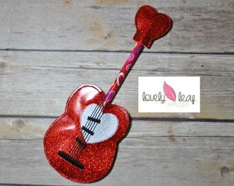DIGITAL ITEM: In-the-hoop Guitar Heart Pencil Felties