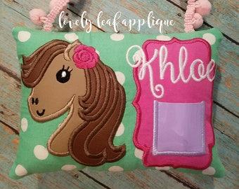 DIGITAL ITEM: 5x7 Girl Horse Tooth Fairy Pillow ITH Design