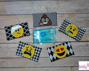 """DIGITAL ITEM: ITH 3x5"""" Emo Faces Ice Pack Pouches Embroidery Design"""
