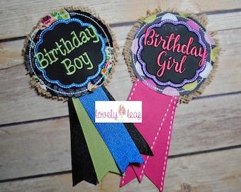 DIGITAL ITEM: ITH Birthday Ribbon Badge Embroidery Designs Boy and Girl Set 4x4 Hoop