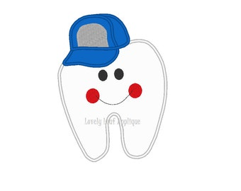 DIGITAL ITEM: Tooth Boy with Hat Applique Design