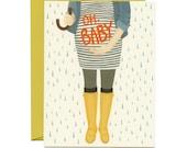 "Baby Bump Baby Shower Card - ""OH BABY"" - ID: BAB002"