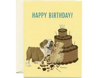 """Bulldog Cake Birthday Card - """"Happy Birthday!"""" - ID: BIR030"""