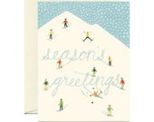 "Snowy Mountain Skiers Holiday Christmas Card - ""Season's Greetings"" - ID: HOL105"