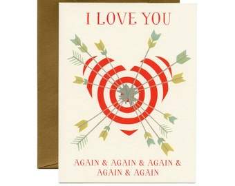Bullseye valentine etsy arrows heart valentines daylove card i love you again and again thecheapjerseys Choice Image