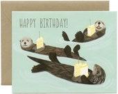 "Sea Otters Birthday Card - ""Happy Birthday!"" - ID: BIR011"