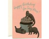 """Sexy Minks Birthday Card - """"Happy Birthday, You Sexy Minx!"""" - ID: BIR085"""