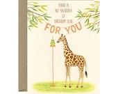 "Giraffe Birthday Card - ""There is No Shortage of Birthday Love For You"" - ID: BIR241"
