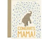 "Baby Shower Baby Elephant Card - ""Congrats, Mama!"" - ID: BAB134"