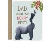 """Silverback Gorilla Dad and Child Father's Day Card - """"Dad, You're the Berry Best!"""" - ID: DAD167"""