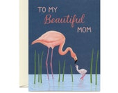 """Pink Flamingo Mom and Child Mother's Day Card - """"To My Beautiful Mom"""" - ID: MOM169"""