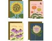 Pretty Flowers Thank You Cards - Variety Boxed Set of 8 Cards and Envelopes - ID: TYBOX002