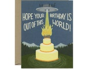 """UFO & Aliens Birthday Card - """"Hope Your Birthday Is Out Of This World!"""" - ID: BIR184"""