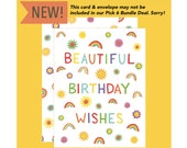 """Rainbows Birthday Card - """"Beautiful Birthday Wishes"""" - ID: BIR225"""