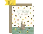"Hippo Cupcakes Birthday Card  - ""Happy Birthday, Let's Make It Rain!"" - ID: BIR207"