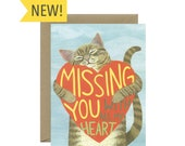 """Missing You Cat I Miss You Card - """"Missing You With All My Heart"""" - ID: MISS233"""