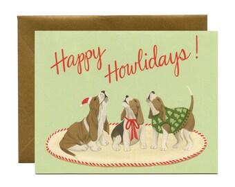 "Howling Hound Dogs Holiday Card - ""Happy Howlidays!"" - ID: HOL127"