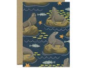 Sea Lions Everyday Just Because Blank Stationery Card - ID: EV132