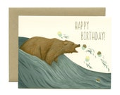 "Grizzly Bear Cupcakes Birthday Card - ""Happy Birthday"" - ID: BIR052"