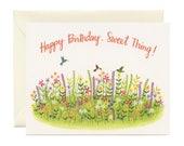 "Hummingbird & Flowers Birthday Card - ""Happy Birthday, Sweet Thing!"" - ID: BIR144"
