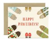 "Animal Paws Holiday Christmas Card - ""Happy Pawlidays!"" - ID: HOL104"