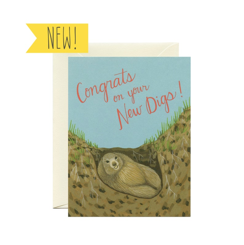 CON197 Cute Groundhog New Home Card ID Congrats on Your New Digs!