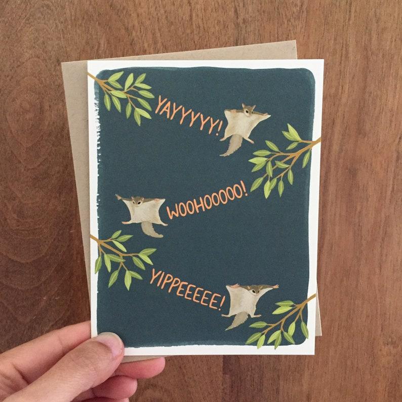 Flying Squirrels Congratulations Card Yippeeeee! Yayyyyy ID: CON092 Woohooooo