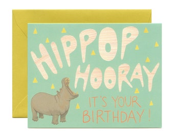 """Hippo Birthday Card - """"Hippop Hooray It's Your Birthday!"""" - ID: BIR066"""