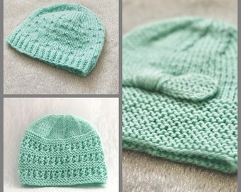 3 Baby Hats in Minty Green, Fits 3-6 mos, or 9-12 mos.