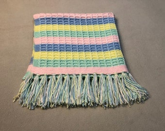 """Small, 28"""" x 28"""", pastel hand knit baby blanket suitable for a newborn girl or boy"""