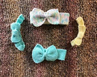 Custom hand knit headband with bow for babies and toddlers