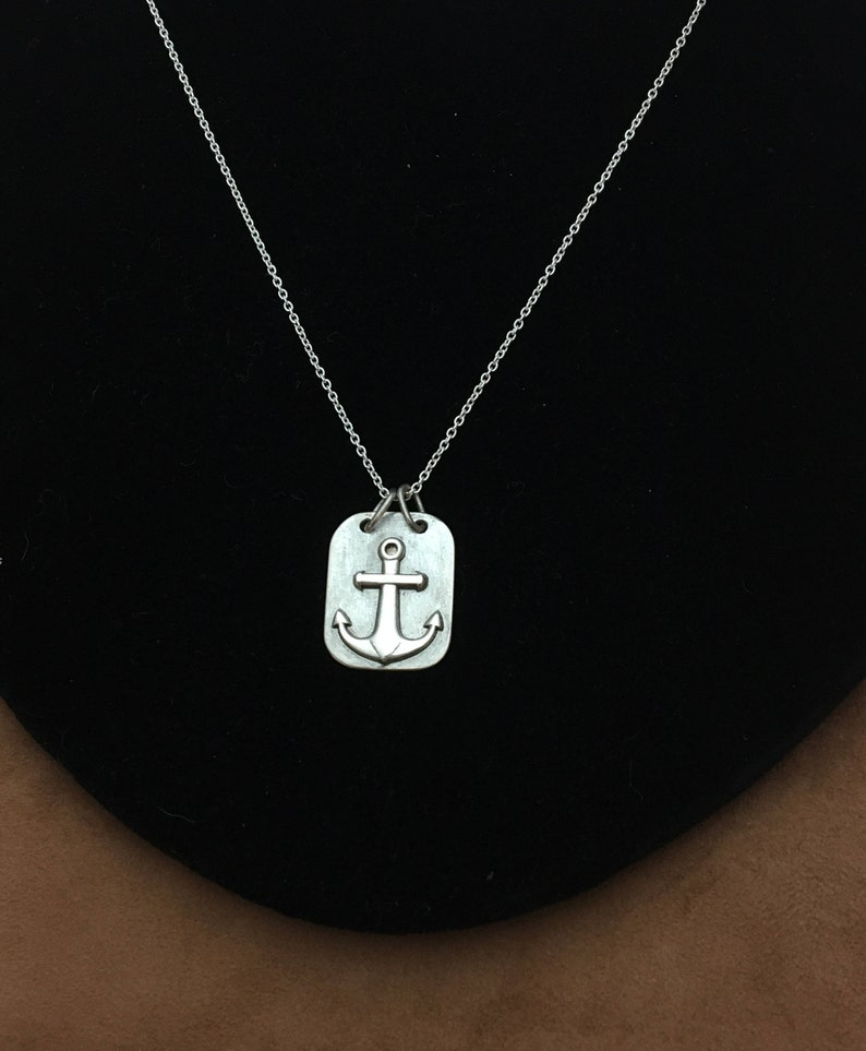 43ccf87a57b6 Anchor on Plate Necklace Anchor Pendant Sterling Silver 925