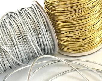 Lot 6 Metallic Green Elastic 1.5mm Bracelet Cord Jewelry Create A Craft DIY 5 Yd