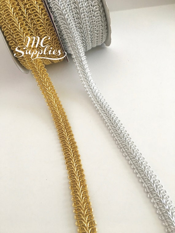 White//Metallic Silver Braid 10 mm Sewing Edging//Trim//Gimp Upholstery Free UK P/&P