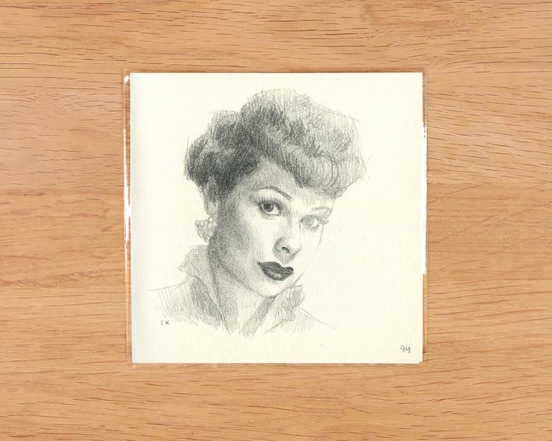 Original 4.75 x 4.75 Graphite Pencil Drawing Portrait Lucy Ricardo I Love Lucy
