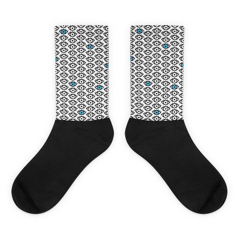 Punk Socks Grunge Socks Eye Socks Spooky Black White and Blue Eyes Print Crew Socks Made to Order