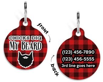 Dog Name Tag, Dog ID Tag, Pet ID Tag, Personalized Dog ID Tag, Funny Dog Tag, Plaid Name Tag, Personalized Pet Tag, Buffalo Plaid Name Tag