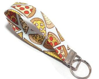 Pizza Key Fob - Pizza Keychain - Pizza Fabric Keychain - Key Chain Wristlet