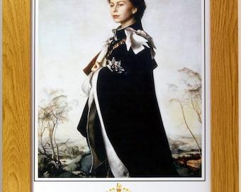 Framed portrait print of Queen Elizabeth II, royalty, British Monarchs