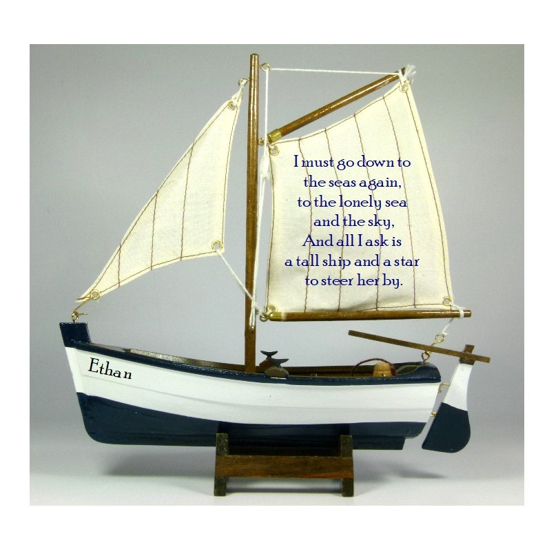 PERSONALISED wooden model sailing rowing boat with nautical poem and any  name on the hull, 22cm