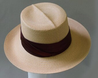 22bddfb94d85f3 Natural Tan Vintage Woven Straw Panama Hat Deflex Imported Milan Hemp