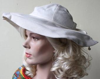 Summer Chic Vintage 70s Wide Brim Hat Cream Linen Floppy Hat ef424d1e361a