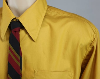 Vintage 60s Mustard Yellow Long Sleeve Dress Shirt with French Cuffs
